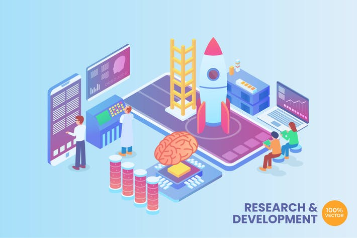 Thumbnail for Isometric Research And Development Vector Concept