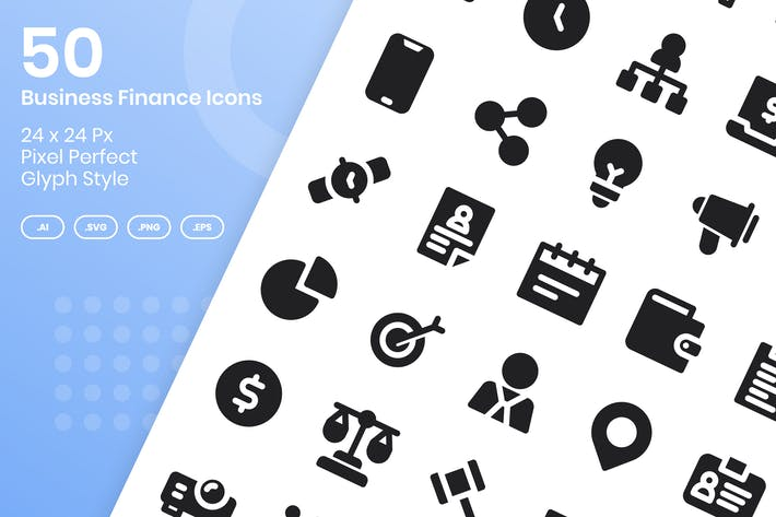Thumbnail for 50 Business Finance Icons Set - Glyph