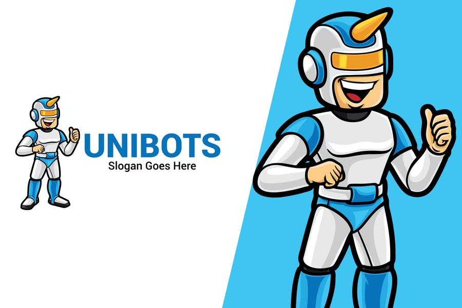Robot Startup Mascot Logo