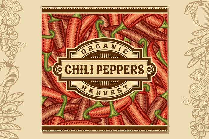Thumbnail for Retro Chili Pepper Harvest Label