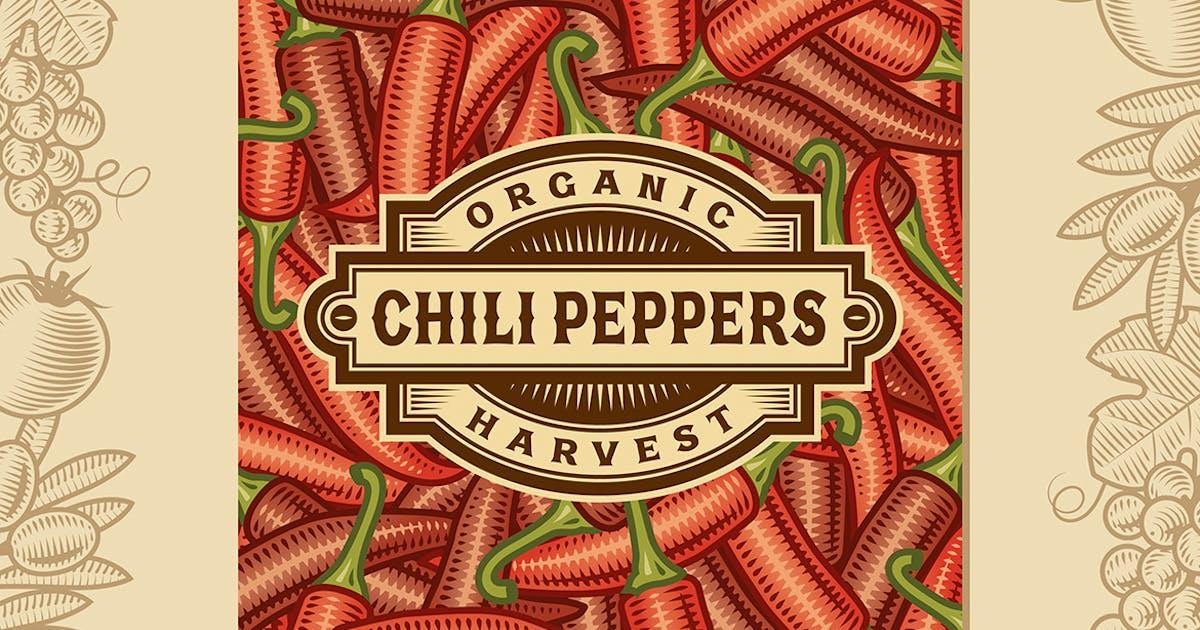 Download Retro Chili Pepper Harvest Label by iatsun