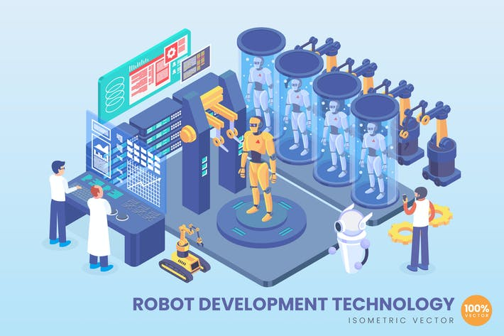 Thumbnail for Isometric Robot Development Technology Vector