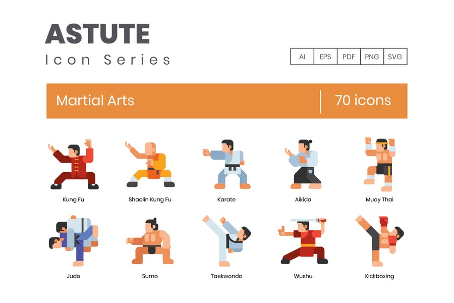 70 Martial Arts Icons | Astute Series - product preview 0