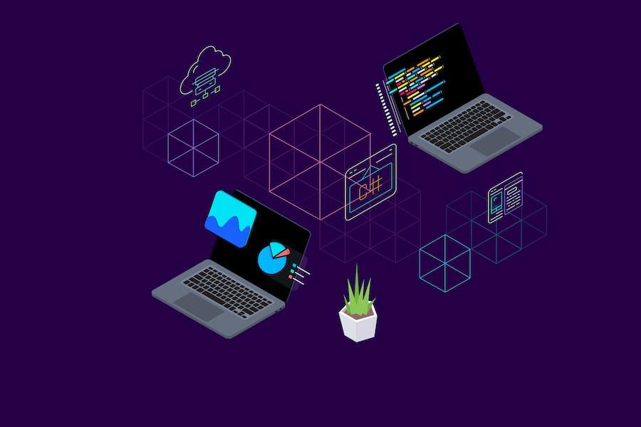 Blockchain Platform Isometric Illustration 3