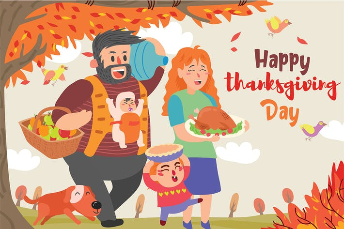 Thumbnail for Family Thanksgiving - Vector Illustration
