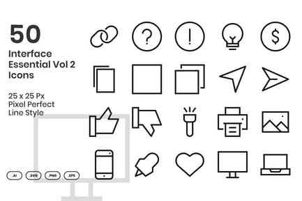 50 Interface Essential Icons Vol 2 - Line