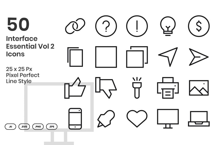 50 Интерфейс Основные Иконки Vol 2 - Линия