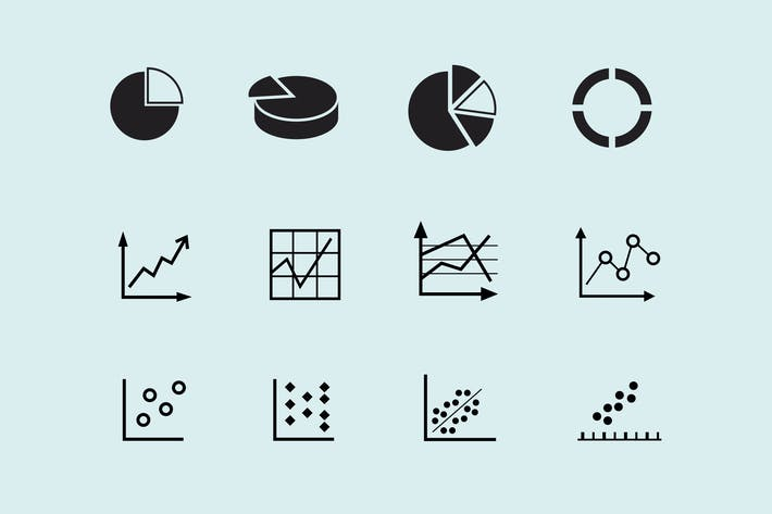 Cover Image For 12 Graph and Chart Icons