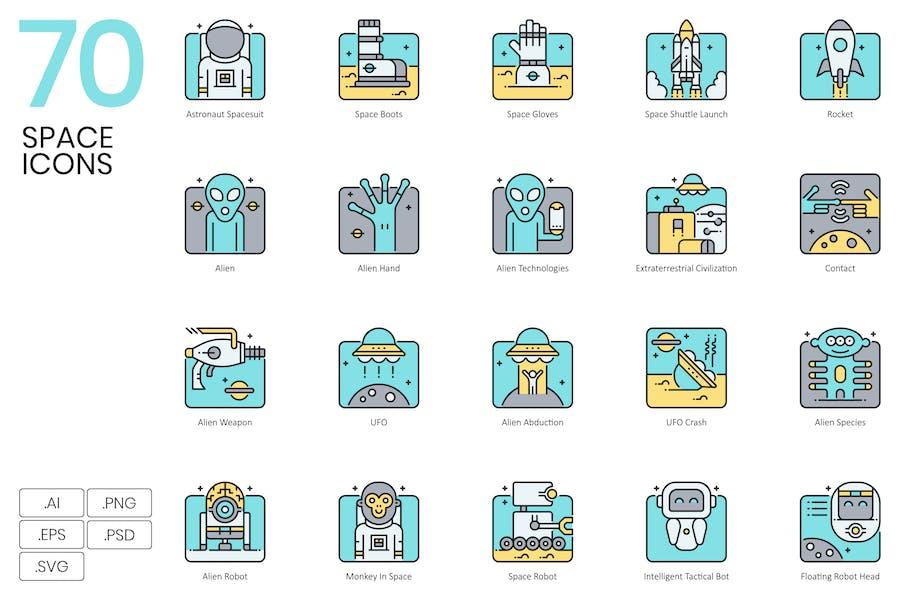 70 Space Icons | Aqua Series