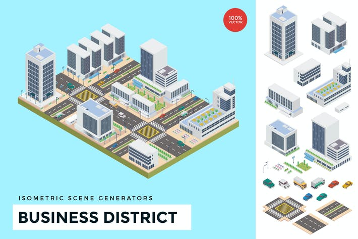 Thumbnail for Isometric Business District Vector Scene Creator