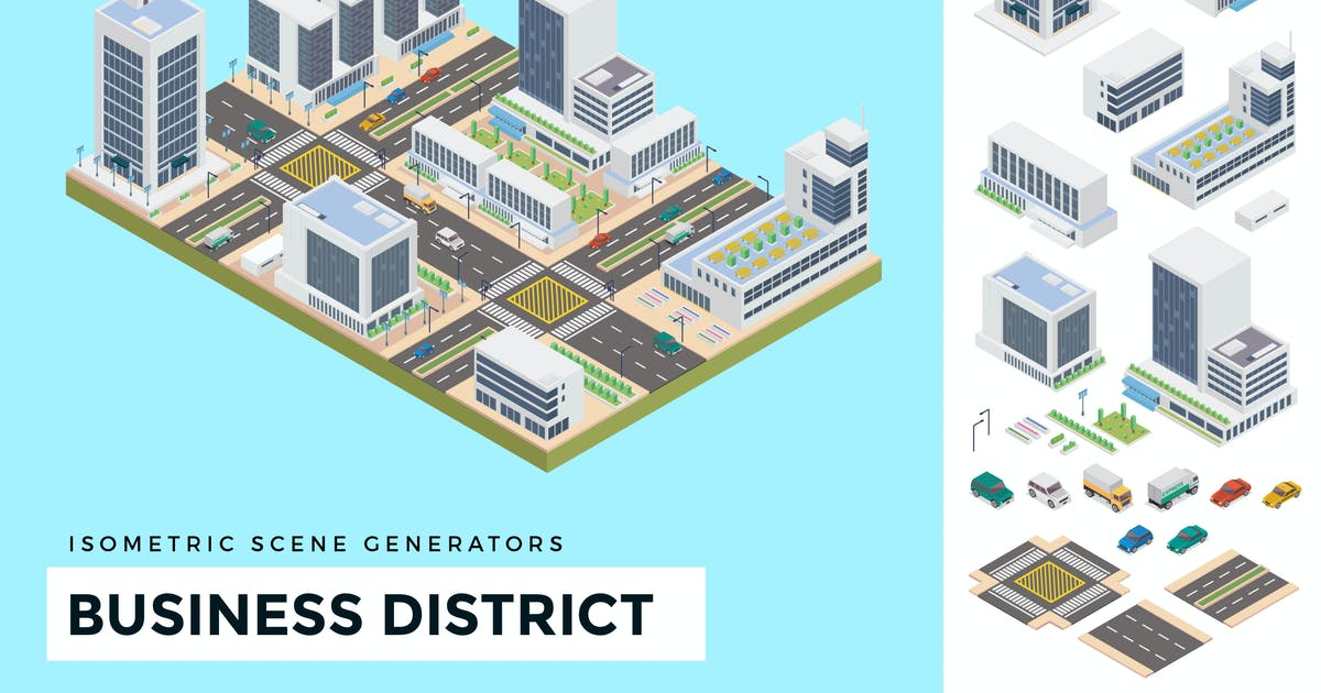 Download Isometric Business District Vector Scene Creator by naulicrea
