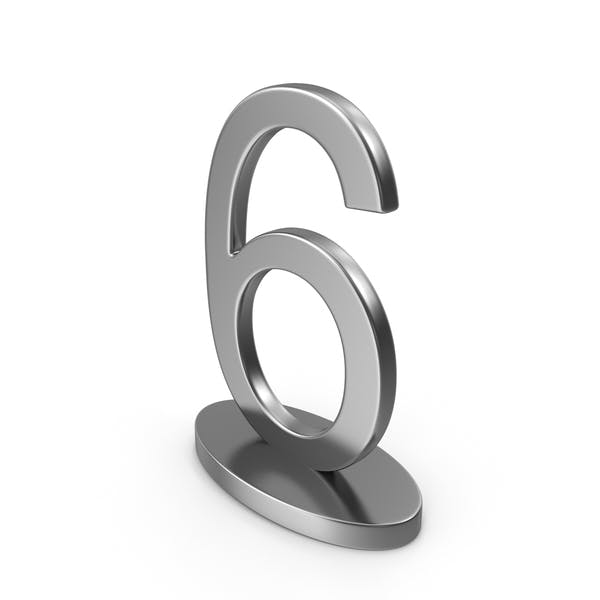 Silver Table Numbers Sign 6