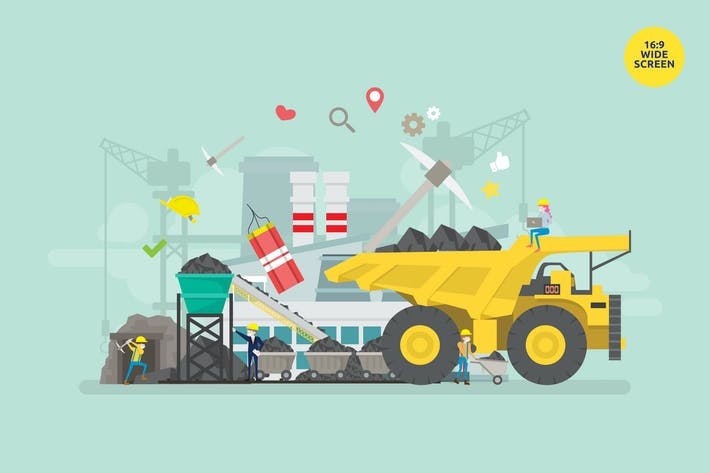 Thumbnail for Coal Mining Industry Vector Illustration Concept