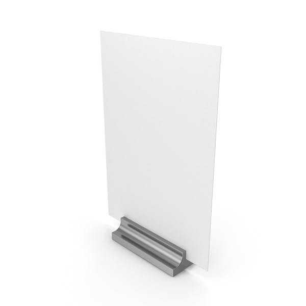 White Desk Paper Banner with Silver Stand