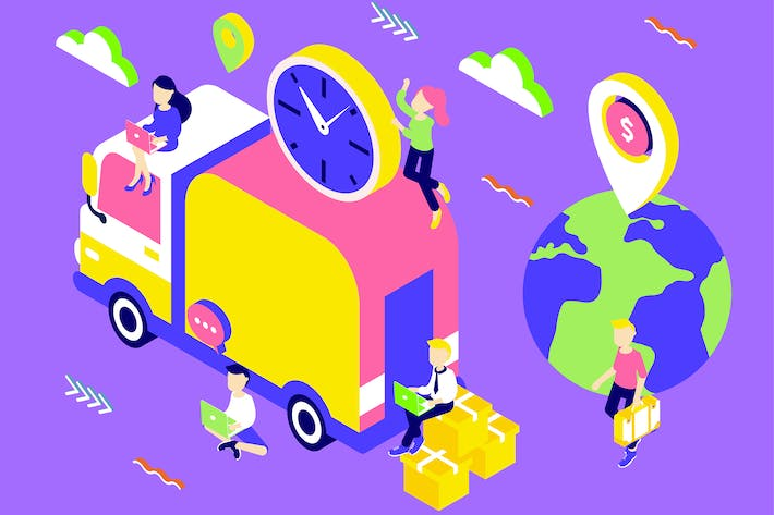 Thumbnail for Delivery Services Isometric Illustration