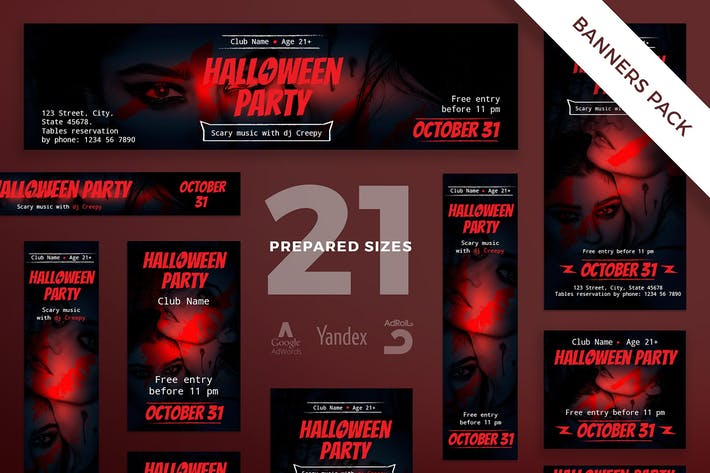 Thumbnail for Halloween Party Banner Pack Template