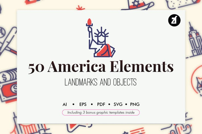 Thumbnail for 50 USA elements with bonus graphic templates