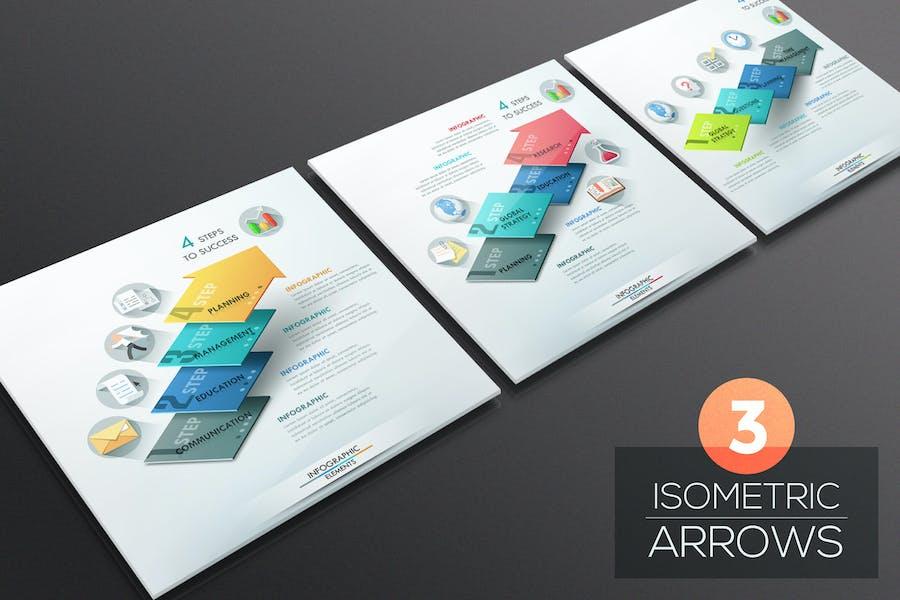 3 Isometric Infographic Arrows
