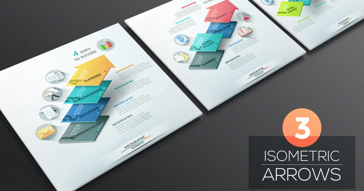Download 3 Isometric Infographic Arrows by Andrew_Kras