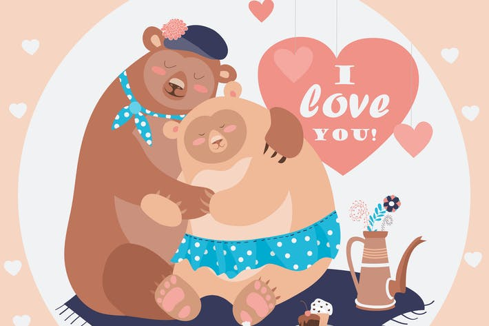 Thumbnail for Couple of hugging bears. Vector