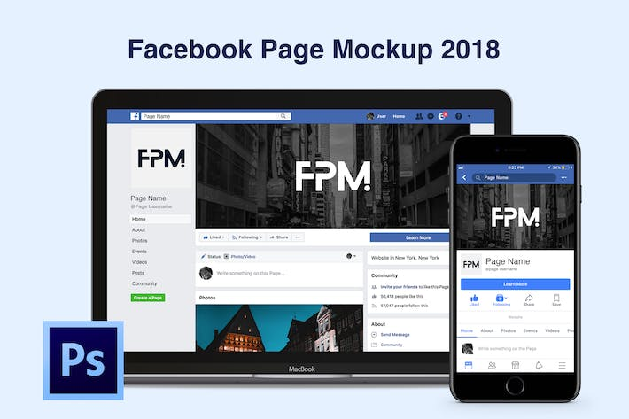 Thumbnail for Facebook Page Mockup 2018
