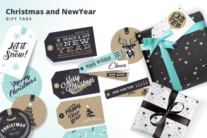 Set of Christmas and New Year's Gift Tags by PureSolution on