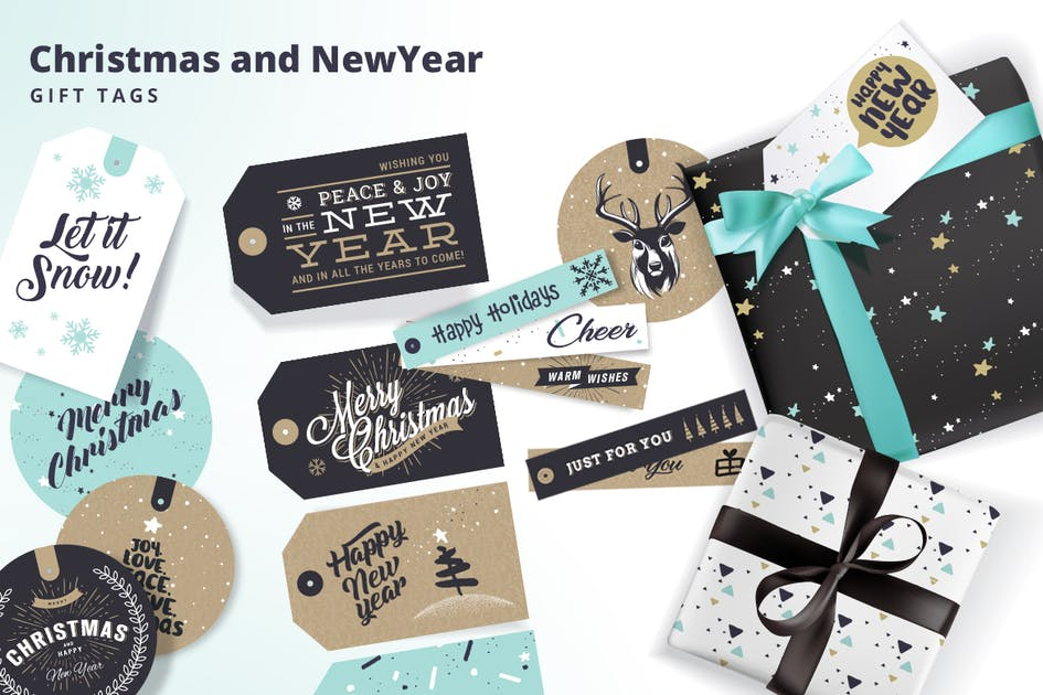 Download Set of Christmas and New Year's Gift Tags by PureSolution