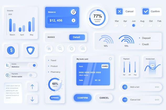 Neumorphic Finance Elements Mobile App UI Kit
