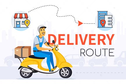 Delivery route - cartoon character banner