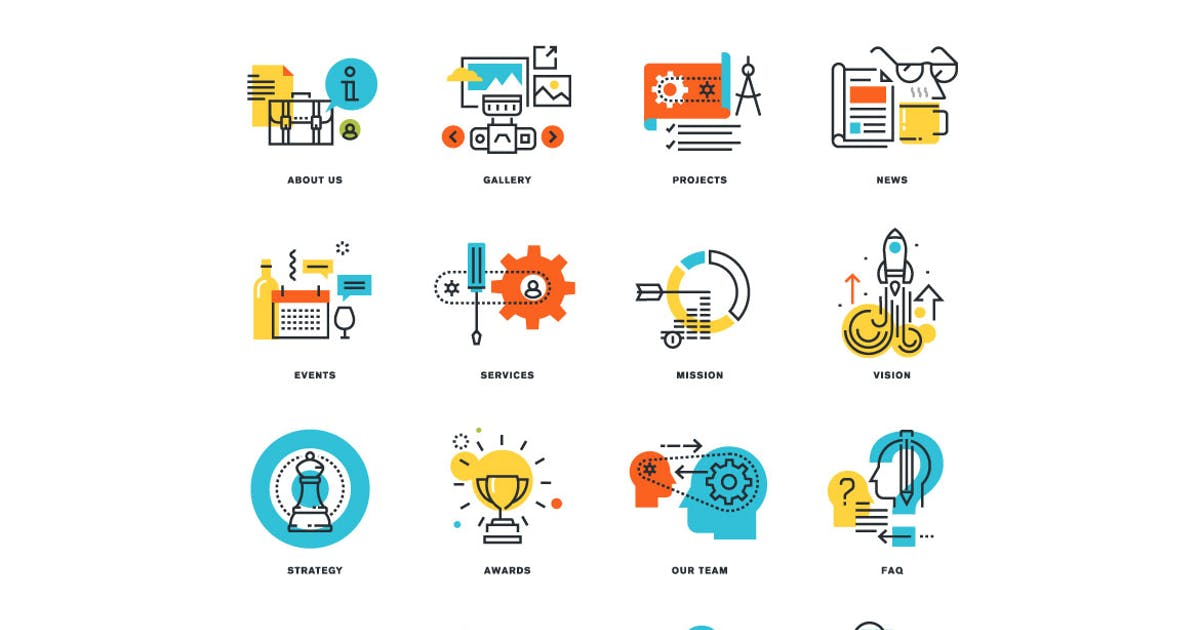Download Set of Flat Line Design Icons by PureSolution