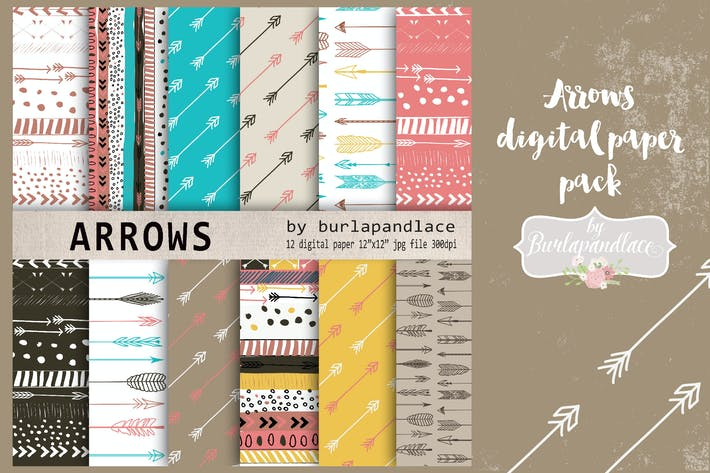 Thumbnail for Arrows digital paper pack natural