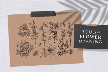 Grobe Blumenzeichnung