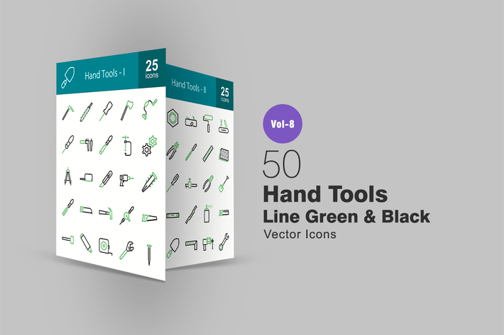 Thumbnail for 50 Hand Tools Green & Black Line Icons