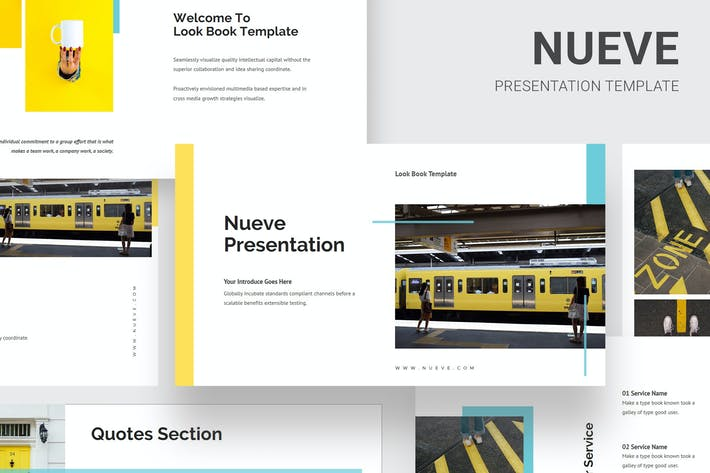 Thumbnail for Nueve - Желтый тон Бизнес Powerpoint