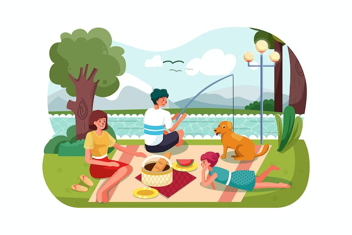 Thumbnail for People on picnic outdoor vector illustration