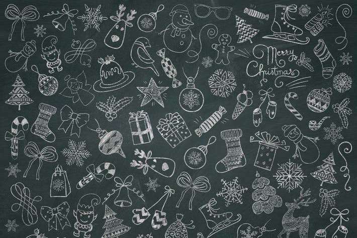 Thumbnail for Christmas Chalk Doodle Icons. PNG