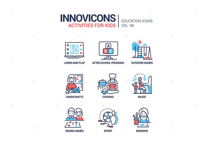 Thumbnail for Activities for kids - line design style icons set
