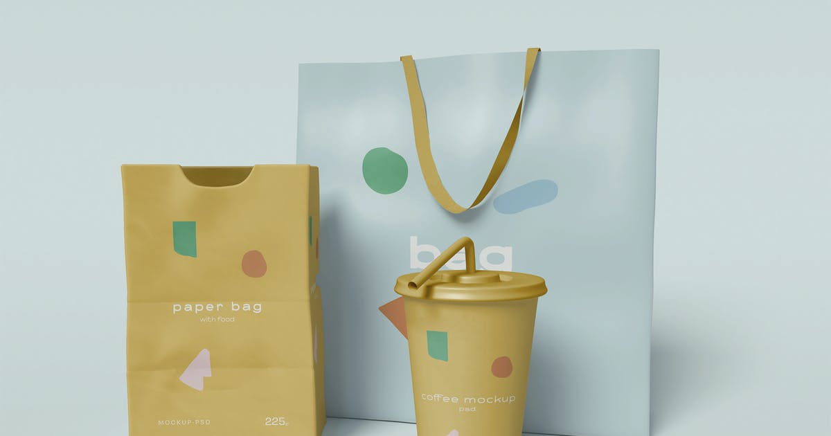 Download Paper Bags with Paper Cup Mockup by megostudio