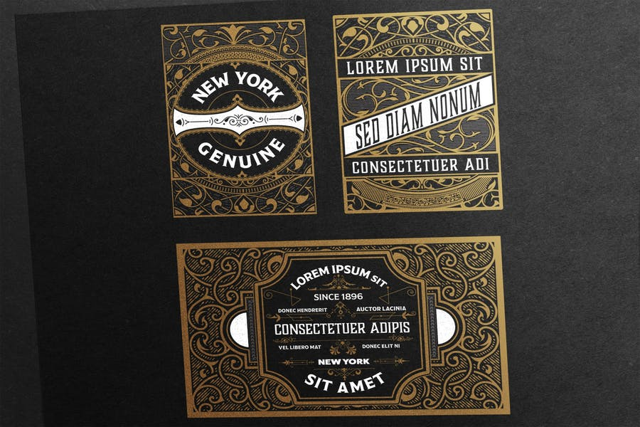 Set of 3 vintage labels  ready for packing