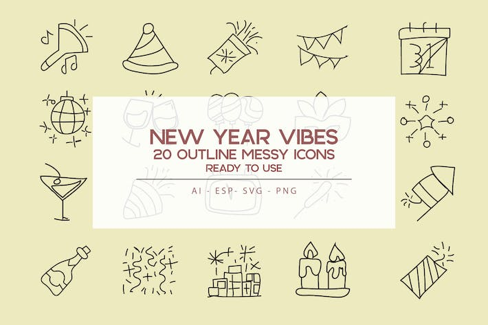 Thumbnail for New Year Vibe Outline Icon Set
