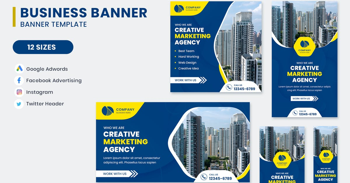 Download Marketing Agency Google Adwords Banner Template by nanoagency
