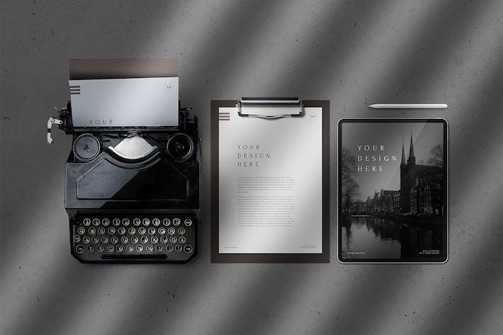 Thumbnail for Tablet Pro Klemmbrett & Vintage Schreibmaschine Mockup