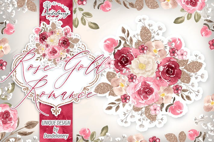 Watercolor Rose Gold Romance design