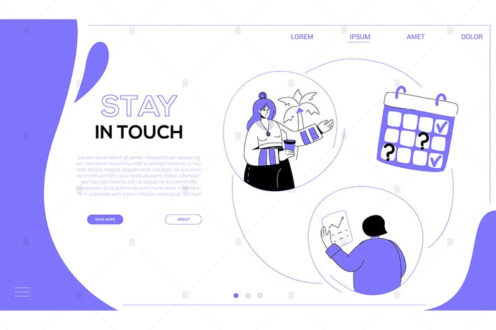 Thumbnail for Stay in touch - flat design style web banner