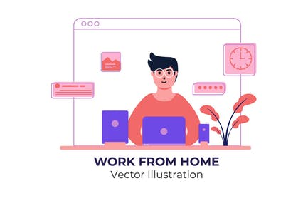 Work From Home - Illustration