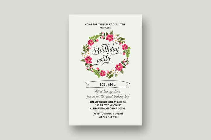 Thumbnail for Floral Birthday Invitation Card