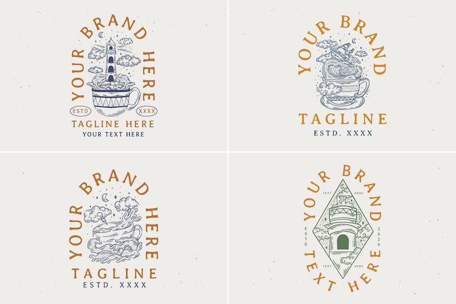design de tasse à café vintage