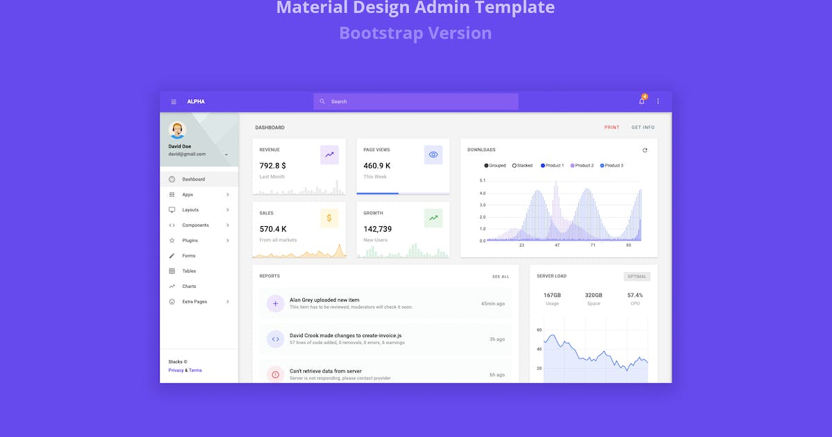 Download Alpha - Material Design Admin Template by stacks