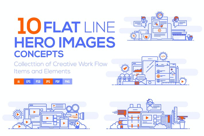 Thumbnail for Set of Flat Line Color Banners Design Concepts