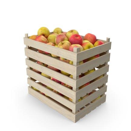 Cajas de madera con manzanas